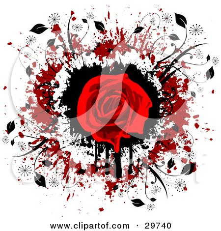 Clipart Illustration of a Red Rose In Bloom Over A Black, White And Red Grunge Background With Black Vines by KJ Pargeter