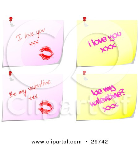 Set Of Four Pink And Yellow Messages With Lipstick Kisses And Love Notes Pinned To A White Background Posters, Art Prints