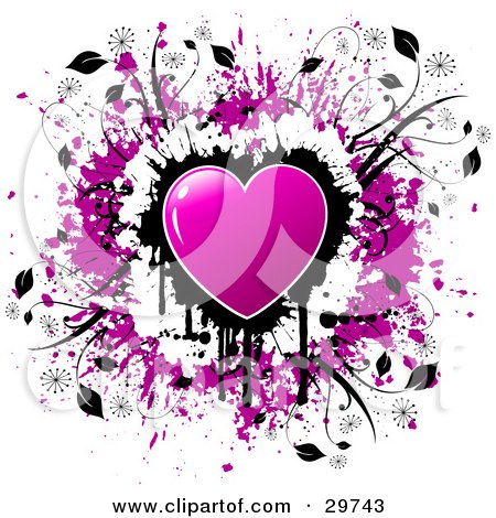 Clipart Illustration of a Purple Shiny Heart Over A Cluster Of Black Dripping Grunge On A White Background With A Circle Of Purple Grunge And Black Vines by KJ Pargeter