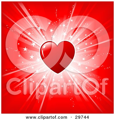 Shiny Red Heart Over A Red Background With A Bright White Burst Of Light And Stars Posters, Art Prints