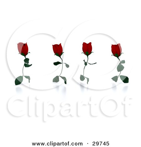 Clipart Illustration of Four Running Red Roses With Leaves As Legs by KJ Pargeter
