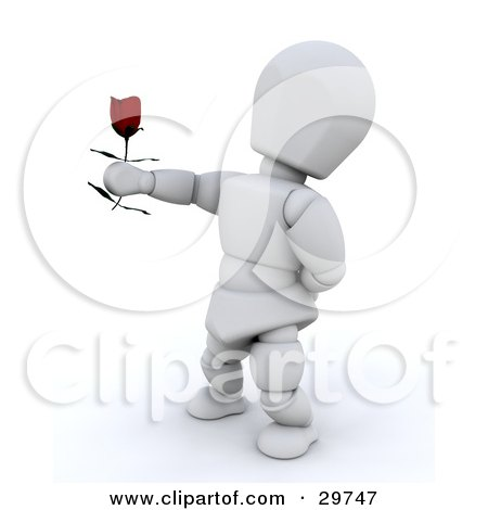 Clipart Illustration of a White Character Standing With One Arm Behind His Back, Holding Out A Single Red Rose by KJ Pargeter