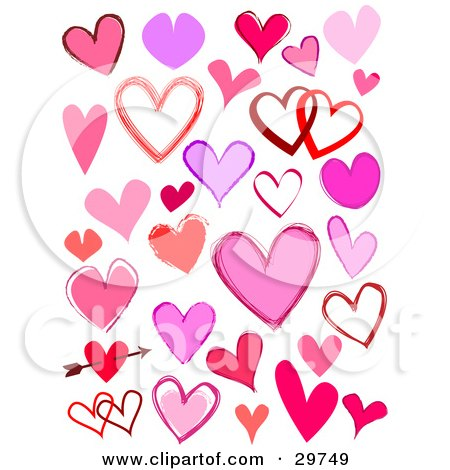 Clipart Illustration of a Set Of Solid And Outlined Pink, Purple And Red Hearts, Single And Entwined And One With An Arrow Through It by KJ Pargeter