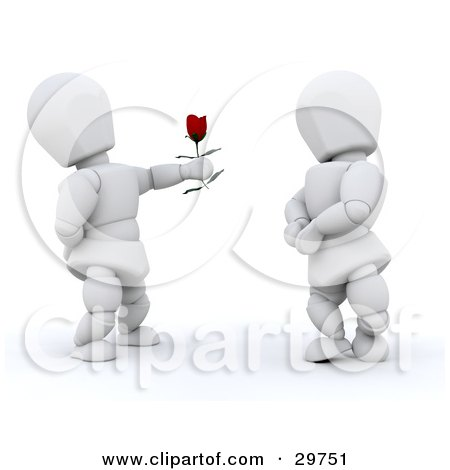 Clipart Illustration of a White Character Holding Out A Red Rose To His Girlfriend by KJ Pargeter