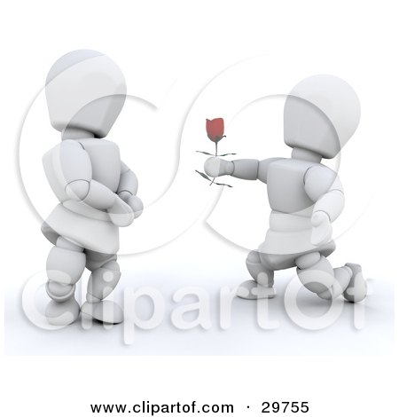 Clipart Illustration of a White Character Kneeling And Offering A Single Red Rose To His Girlfriend by KJ Pargeter