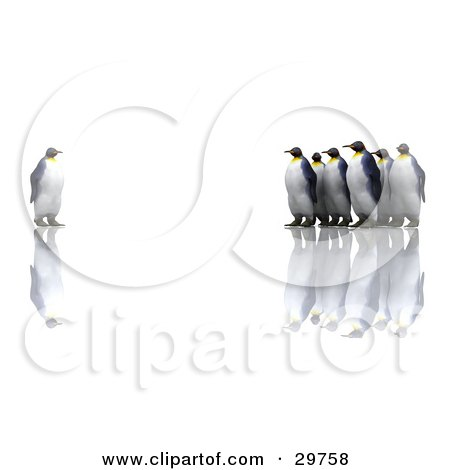 Clipart Illustration of a Group Of Penguins Staring At An Individual One, Symbolizing Standing Out From The Crowd by KJ Pargeter