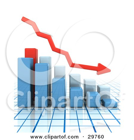 Clipart Illustration of a Red Arrow Curving Downwards With Bar Graphs Showing A Decrease, On A Grid Surface And White Background by KJ Pargeter