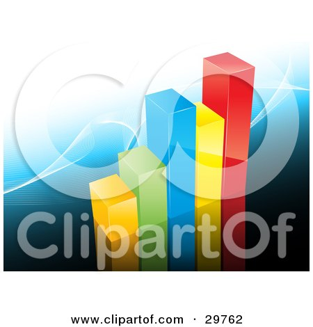Clipart Illustration of a Colorful Bar Graph Of Yellow, Green, Blue And Red Rows Showing Profit, On A Blue Background With White Waves by KJ Pargeter