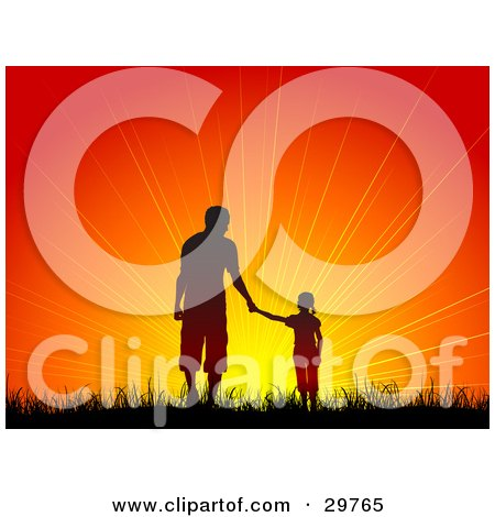 Clipart Illustration of a Silhouetted Girl Holding Hands With A Man, Father And Daughter, Walking In Grass Towards An Orange Sunset by KJ Pargeter