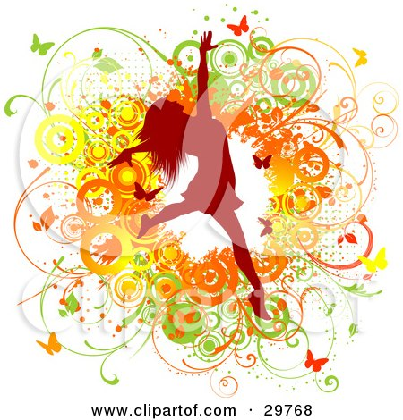 Red Silhouetted Woman Leaping Over A Green, Yellow And Orange Grunge Background Of Vines, Circles And Butterflies Posters, Art Prints