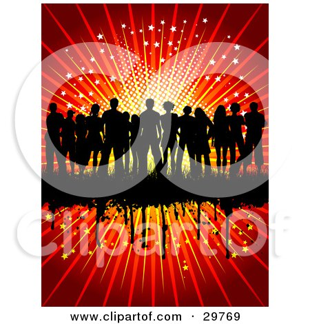 Clipart Illustration of a Silhouetted Group Of People Standing Together On A Black Grunge Bar On A Red Background Of Stars by KJ Pargeter