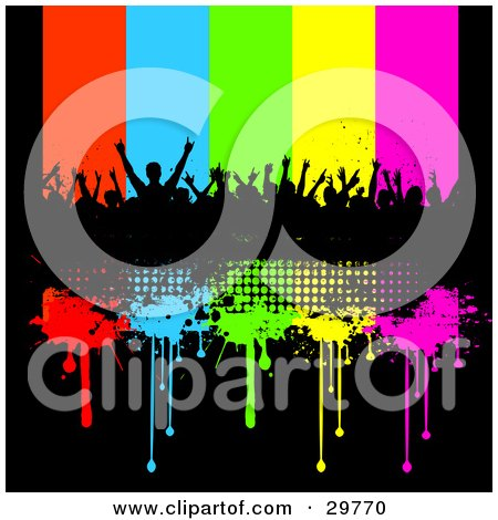 Clipart Illustration of a Silhouetted Crowd Of People At A Concert On A Black Grunge Bar With Red, Blue, Green, Yellow And Pink Dripping Lines by KJ Pargeter