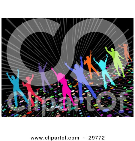 Clipart Illustration of Colorful Silhouetted Men And Women Dancing On A Sparkling Disco Dance Floor On A Black Background by KJ Pargeter