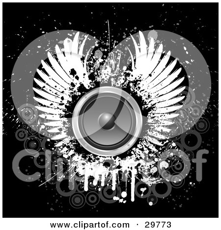 Pair of white wings around a circle speaker on a black grunge background with faded gray