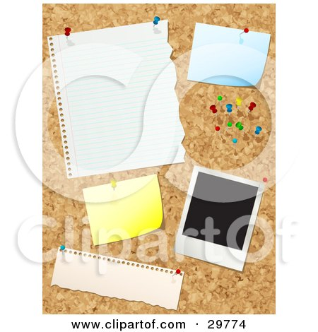 Clipart Illustration of a Cork Board With Push Pins, Blank Messages And A Polaroid Picture by KJ Pargeter