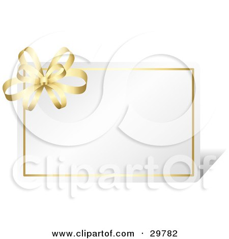 Clipart Illustration of a Blank White Card Bordered In Gold With A Golden Bow by KJ Pargeter