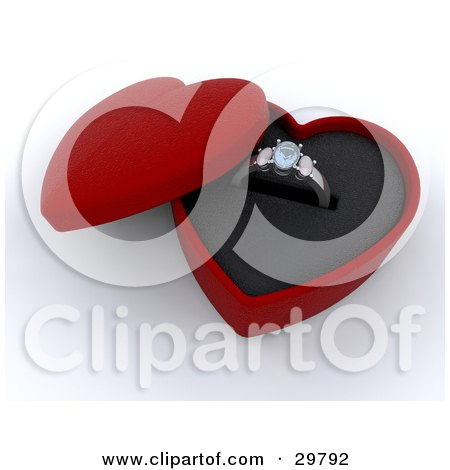 Two Diamond Wedding Rings Resting On A Heart Shaped Ring Box Posters