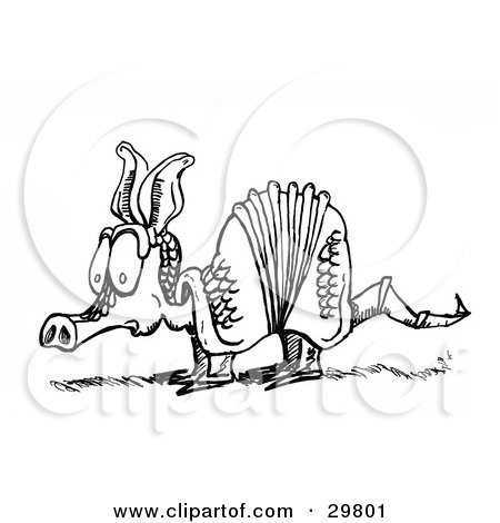 Clipart Illustration of a Nervous Little Armadillo Sketched In Black And White by Spanky Art