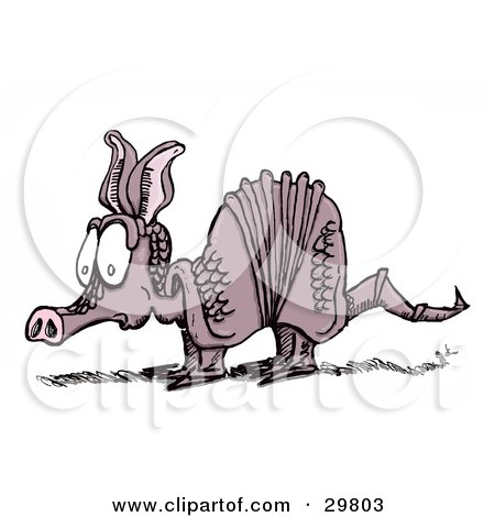 Clipart Illustration of a Scared Little Armadillo With A Nervous Facial Expression by Spanky Art