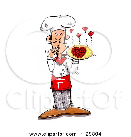Clipart Illustration of a Male Chef Covering His Mouth And Presenting A Pizza With Pepperoni Slices Forming A Heart, Little Hearts Steaming From The Top by Spanky Art