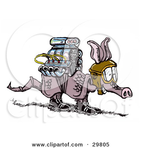 Clipart Illustration of an Armadillo With A Powerful Engine Strapped On His Back, Wearing Goggles And Preparing For Take Off by Spanky Art