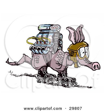 Clipart Illustration of an Excited Little Armadillo Wearing Goggles And Roller Skates, A Powerful Engine Strapped To His Back by Spanky Art