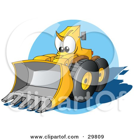 Clipart Illustration of a Tough Yellow Bulldozer Character With A Loader, Moving Forward by Holger Bogen