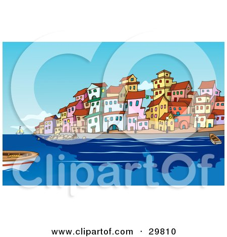 Clipart Illustration of Boats And People In The Harbor Near A Mediterranean Waterfront Town With Colorful Buildings by Holger Bogen