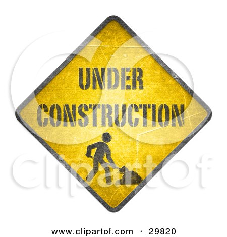 """Clipart Illustration of a Yellow Cautionary Road Sign With """"Under Construction"""" Text And A Worker Digging by beboy"""