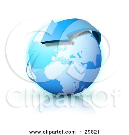 Clipart Illustration of a Blue Arrow Circling Planet Earth, With Europe Featured by beboy
