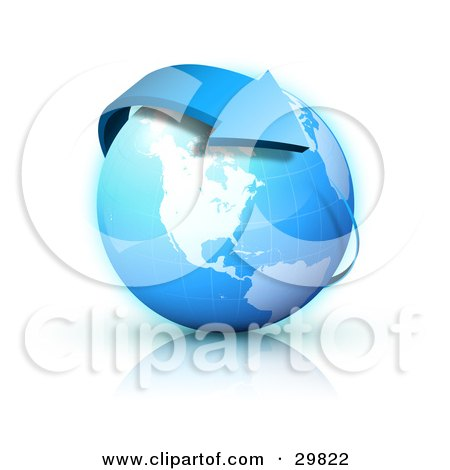 Clipart Illustration of a Blue Arrow Circling Planet Earth, With North America Featured by beboy