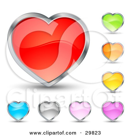 Clipart Illustration of a Set Of Red, Green, Orange, Yellow, Purple, Pink, Silver And Blue Hearts With Chrome Borders by beboy