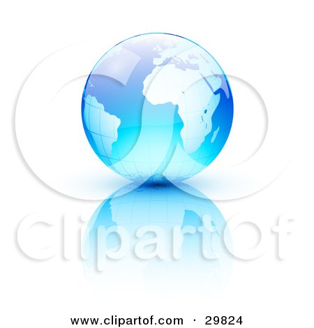 Clipart Illustration of a Blue Earth With A Grid Pattern, Over A Reflective White Surface by beboy