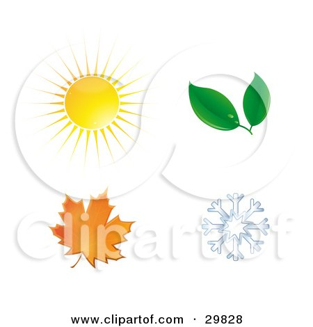 Clipart Illustration of a Summer Sun, Spring Leaves, Autumn Maple Leaf And Winter Snowflake by Melisende Vector