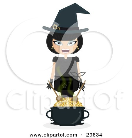 Clipart Illustration of a Laughing Female Witch Wearing Stars On Her Hat, Mixing Gold Coins In A Cauldron by Melisende Vector