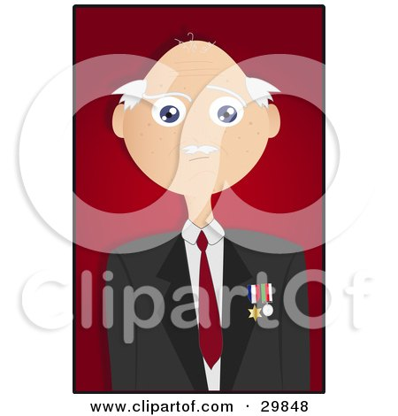 Bald Senior Veteran Man Wearing Medals On His Jacket, Over A Red Background With A Black Border Posters, Art Prints