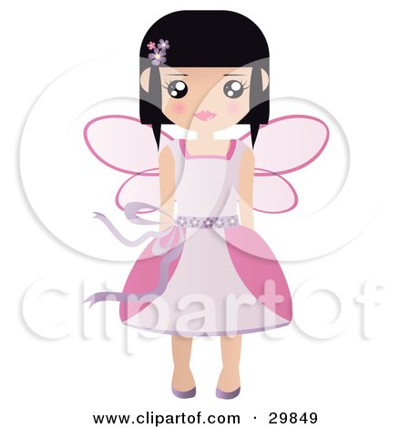 Clipart Illustration of a Black Haired Caucasian Fairy Princess In A Pink Dress And Wings by Melisende Vector