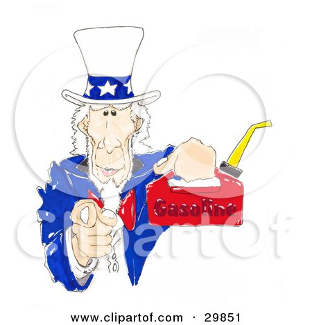Clipart Illustration of Uncle Sam Pointing Outwards At The Viewer And Holding Up A Gas Can by Spanky Art