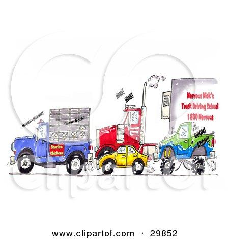 Clipart Illustration of a Traffic Jam Of Animal Transport Trucks, Big Rigs, Cars, And Monster Trucks by Spanky Art