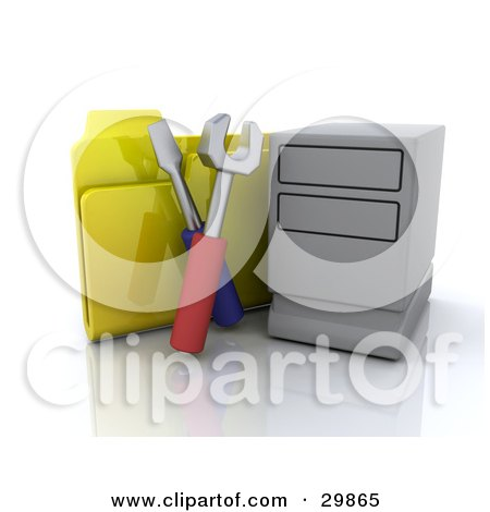 Clipart Illustration of a Computer Tower With Tools And A Yellow File Folder by KJ Pargeter