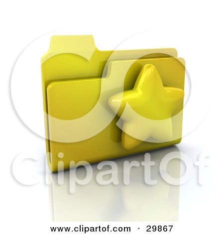 Clipart Illustration of a Yellow Favorites Link Folder With A Star On It by KJ Pargeter