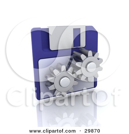 Clipart Illustration of Two Working Cogs In Front Of A Blue Floppy Disk by KJ Pargeter