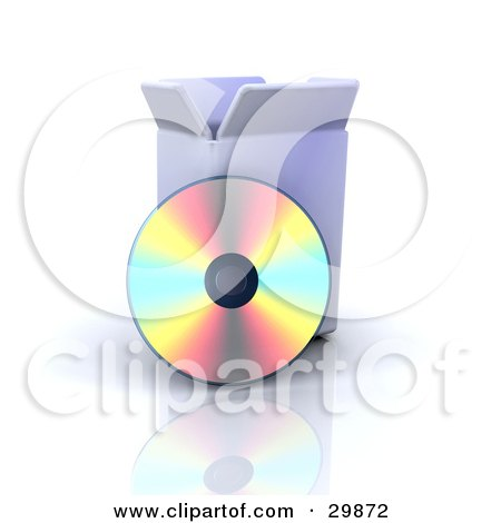 Clipart Illustration of a CD Reflecting Colorful Light While Resting Against A Software Box by KJ Pargeter