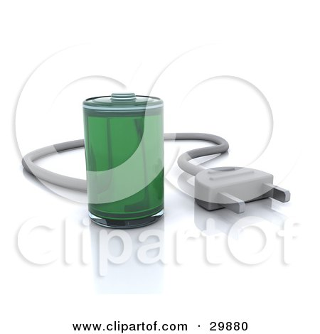 Clipart Illustration of a Fully Powered Green Battery With A Cable Plug by KJ Pargeter