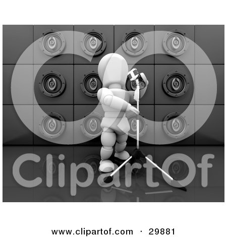 Clipart Illustration of a White Character Singing Into Microphone On A Stand, In Front Of A Wall Of Black Speakers by KJ Pargeter