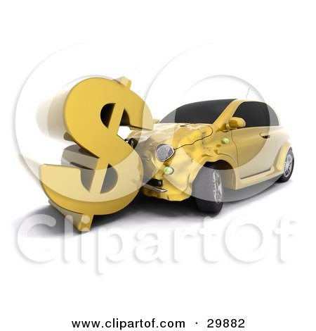 Clipart Illustration of a Gold Car Crashing Into A Large Dollar Sign, Symbolizing Auto Insurance Claims Or A Crashing Economy by KJ Pargeter