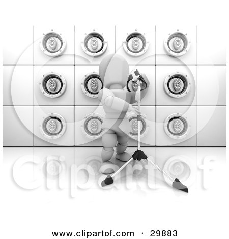 Clipart Illustration of a Singing White Character With A Microphone On A Stand, In Front Of A Wall Of White Speakers by KJ Pargeter