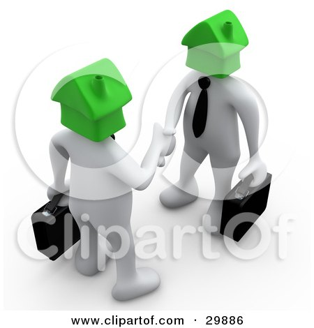 Clipart Illustration of 3D White Businessmen With Green House Heads, Carrying Briefcases And Shaking Hands, Symbolizing Selling Or Buying Homes by 3poD