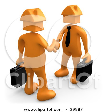 Clipart Illustration of 3D Orange Businessmen With House Heads, Carrying Briefcases And Shaking Hands, Symbolizing Selling Or Buying Homes by 3poD