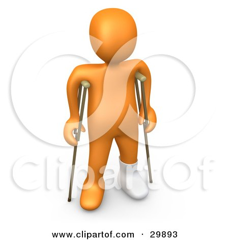 Clipart Illustration of a 3D Orange Person With A Cast On His Broken Foot, Using A Pair Of Crutches To Get Around by 3poD